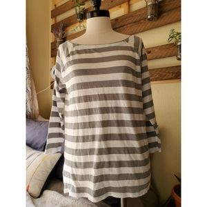 NWT j crew 1/4 sleeve stripped top